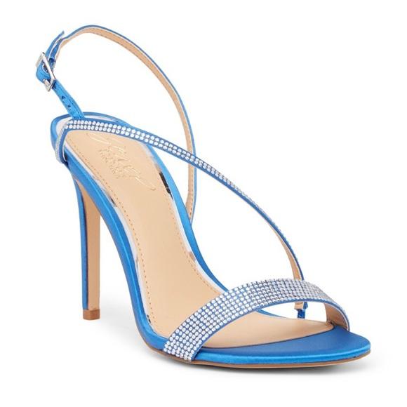 309135ca2e5 Jewel Badgley Mischa Blue Satin Heel Sandals